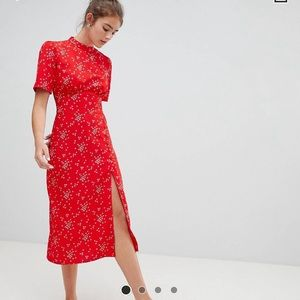 Red Printed Midi Dress